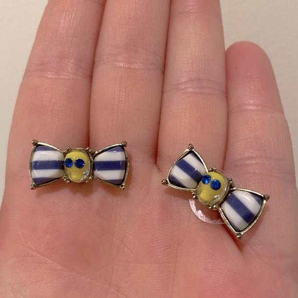 VINTAGE Betsey Johnson skull bow earrings